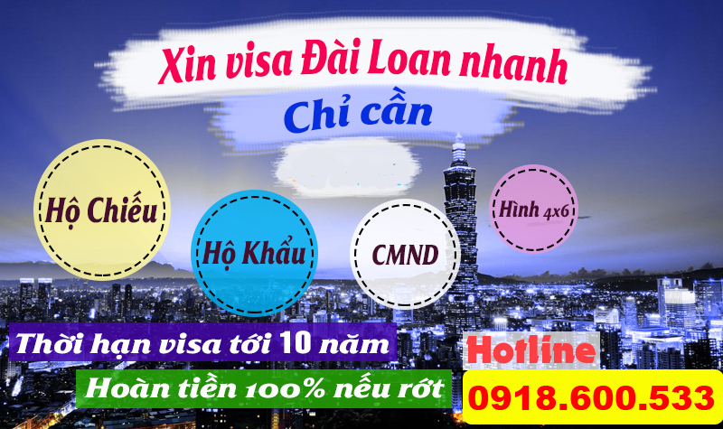 visa du lich dai loan